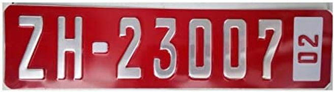 Car number part , red and silver color