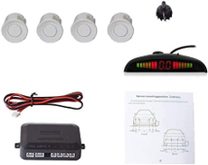 Car Auto Vehicle Visual Backup Radar System with 4 Parking Sensors Distance Info Video Output Sound Warning White Color
