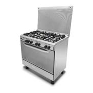 Kiriazi Gas Cooker: 5 Burners: 90x60 cm: Stainless Steel