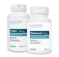 DHEA 50mg 180 Capsules + MELATONIN 3mg 180 Capsules VALUE PACK by EuroVital