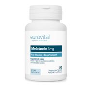 MELATONIN 3mg Fast Dissolve Strawberry 50 Vegetarian Tablets by EuroVital